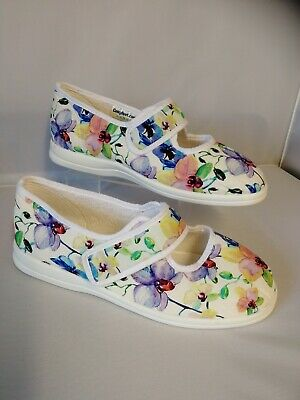 Ladies Cosyfeet size 9 extra Roomy shoes Margaret Petal Print