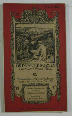 1921 Old OS Ordnance Survey One-Inch Popular Edition Map 62 Burton & Walsall
