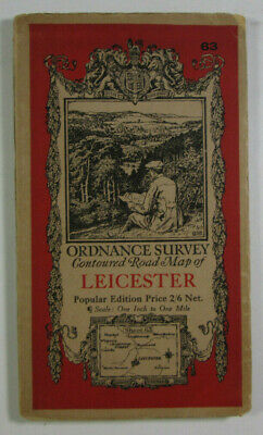 1933 Old Vintage OS Ordnance Survey One-Inch Popular Edition Map 63 Leicester