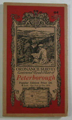 1929 Old Vintage OS Ordnance Survey One-Inch Popular Edition Map 64 Peterborough