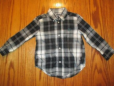 Chaps Toddler Boys Button Up Black White Green Plaid Shirt, 3T Free Shipping
