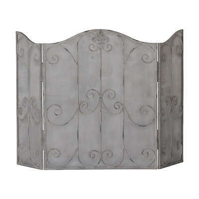 Shabby Chic French Grey Filigree Scroll Firescreen Fire Spark Guard