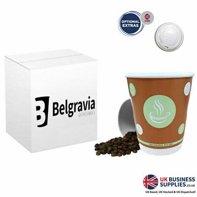 10oz Belgravia Biodegradable Double Walled Cups Optional White Lids - Multi Pack