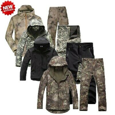 Shark Skin Soft Shell Mens Tactical Camo Military Hunting Fleece Jacket + Pants