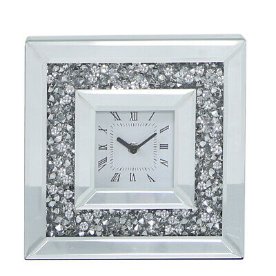25cm Heavy Mirrored Silver Encrusted Crystal Table Side Mantel Clock