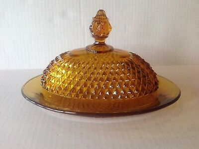 Indiana Glass Diamond Point Amber Oval Covered Butter Dish