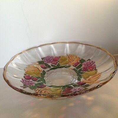 Depression Indiana Glass Pedestal Bowl Garland Pattern w fruits and gold Flash