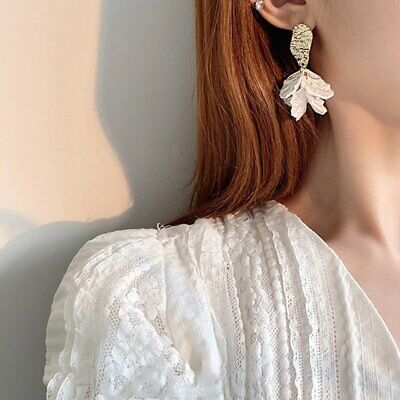 Fashion Women Korean Crystal Flower Shell Earrings Personality Fairy Earrings