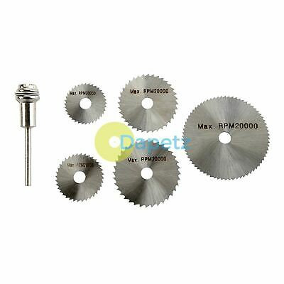 6 Pcs 22-50mm HSS Circular Saw Blade Cutting Discs Set and Mandrel for Drill