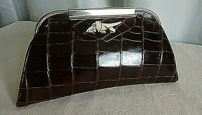 Fantastic Art deco French glossy brown condition cluch bag bakelite dog chrome