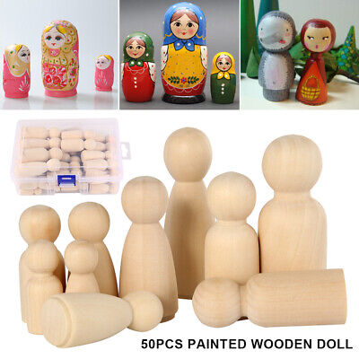 50PCS DIY Wooden Peg Doll Unfinished Family People Wedding Craft Man/Lady/Kids