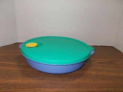 """Tupperware Crystal Wave Divided Round 10"""" Microwave Dish # 3284 Vented Lid"""