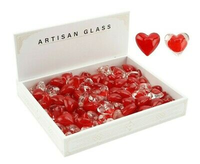 Set 2 Cute Coloured Glass Mini Red Hearts Wedding Favours Gift Love Token Tokens