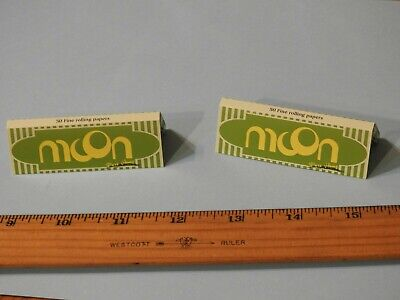2 Packs MOON Green Normal Size HEMP Rolling Papers (50 Leaves Each)
