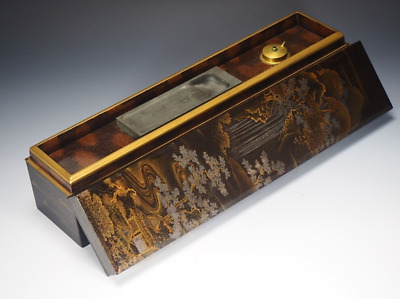 Japanese Antique Inkstone Case Makie Lacquered Box