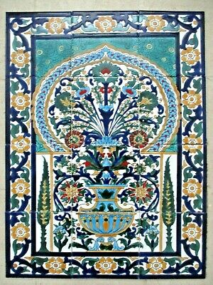 "Ceramic tile art Mosaic wall mural Arabesque Antique floral BACKSPLAH  18"" x 24"""