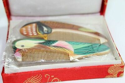 Vintage Chinese Hand Painted Hair Combs Original Box Bird Art Asian Carved Wood