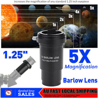 Achromatic 5X Barlow Lens M42 1.25in 31.7mm Multi-coated for Telescope Eyepiece