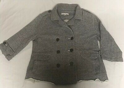 CAbi Soft Grey Military Style Casual Jacket Size Medium Anchor Buttons