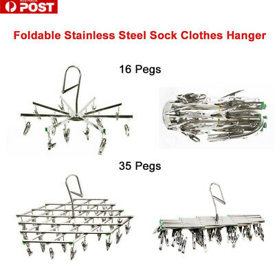 16/35Pegs Stainless Steel Laundry Socks Washing Clothes Airer Dryer Rack Hanger
