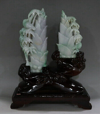 Chinese Exquisite Hand-carved bamboo bird Carving jadeite jade statue 2pcs