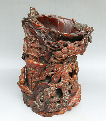 Chinese Exquisite Hand-carved people landscape Carving OX Horn cup