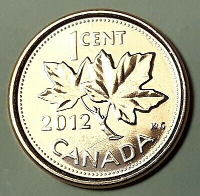 2012 Zinc CANADA 1 Cent Non-Magnetic From Mint Roll UNC Last Year of Penny