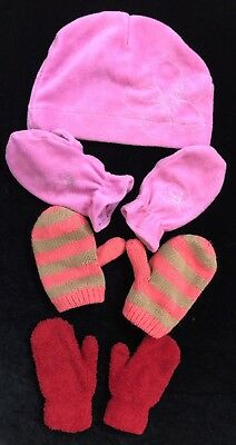 EUC The Childrens Place Fleece Lined Knitted Mitten  And Hat Lot