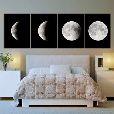 Moon Lunar Eclipse Landscape Abstract Canvas Painting Posters and Prints