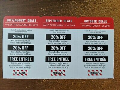 TGI Fridays Coupons 20% Off or Entree July August September October 2019
