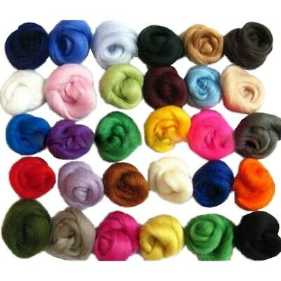 36 Colors Merino Wool Fibre Roving For Needle Felting Hand Spinning Diy Fun Y8T1