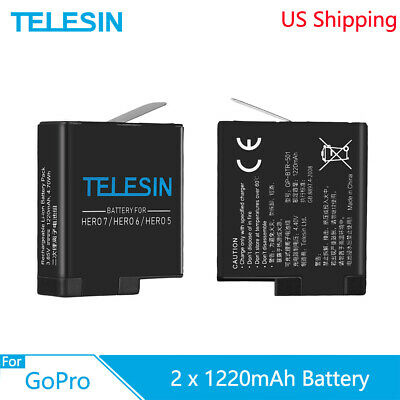 TELESIN 2x Battery 3.85V 1220mah Replacement Rechargeable for GoPro Hero 5 6 7