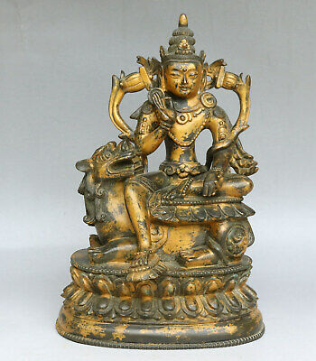 Chinese Exquisite Handmade Luohan beast copper Gilt statue