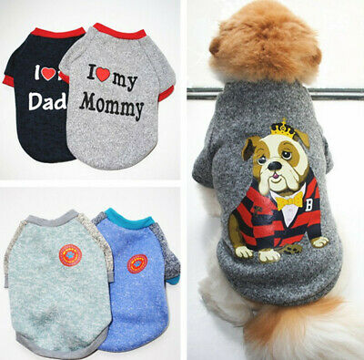 2019 Love Mommy Daddy Puppy Pet Dog Clothes Warm Sweatshirt Cotton Soft Costumes