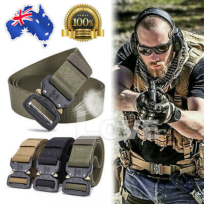 Mens Heavy Duty Military Belt Tactical Army Hunting Outdoor Utility Waistband