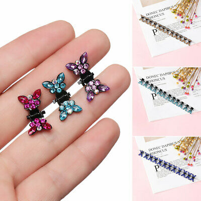 12PCS Kids Baby Girls Rhinestone Butterfly Hairpins Mini Claw Hair Clips Clamp