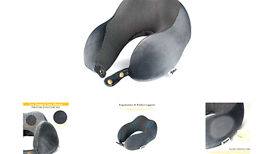 Travel Pillow Memory Foam Neck Support on a Train, Airplane, Car, Bus or whil...