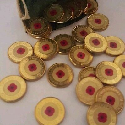 2012 Australian $2 (two dollars)Red Poppy Remembrance Colour Coin UNC FROM-ROLL
