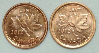 Magnetic and Non-Magnetic 1 Cent UNC Coin 2012 Canada Penny Card