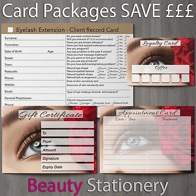 Eyelash Extension Client Card Gift Appointment Loyalty Blank Packages