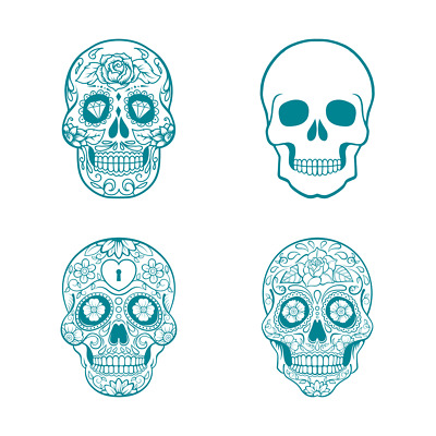New Screen Sensation Mesh Screen Set of 4 Sugar Skulls 23cm x 23cm 443634