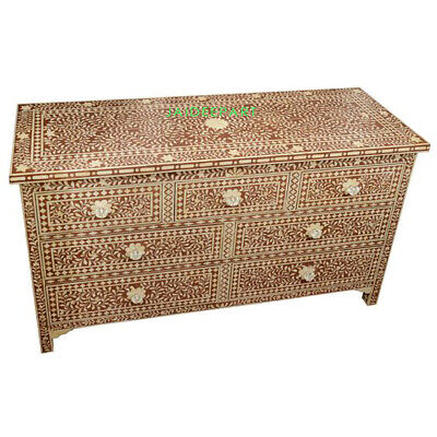 Handmade Bone Inlay Floral Leaf Design Brown Chest of Drawer Dresser