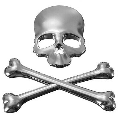 5X(3D Skull Metal Car Sticker Auto Motor Skeleton Crossbones Emblem Badge L P7U5