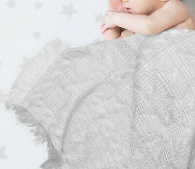 Ruffled Baby Shawl, Wrap, Blanket 120x120cm - White