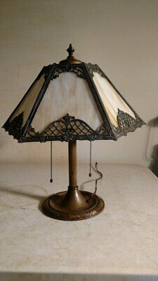 Antique Bradley and Hubbard lamp w/slag or stained glass lamp Handel era
