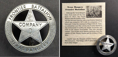 Texas Ranger Badge, Peso Back Company D, Frontier Battalion, Old West, Western
