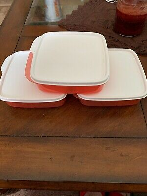 Tupperware Divided Lunch-It Dish Lunch Containers - Set of 3 Orange/White
