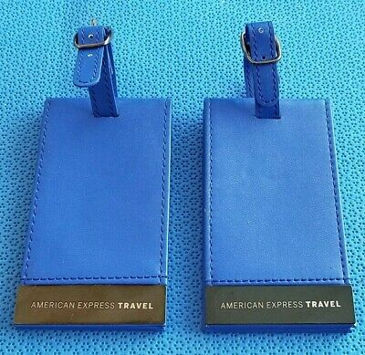 New American Express Travel Metal Blue Luggage Tags x 2