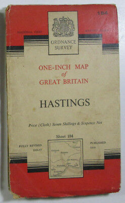 Vintage 1959 OS Ordnance Survey Seventh Series One Inch CLOTH Map 184 Hastings