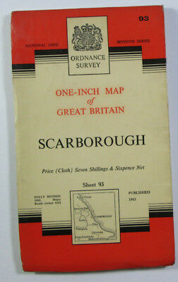 Old 1963 OS Ordnance Survey Seventh Series One-Inch CLOTH Map 93 Scarborough
